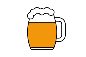 Beer mug color icon