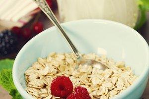 bowl of oat flake, berries and fresh
