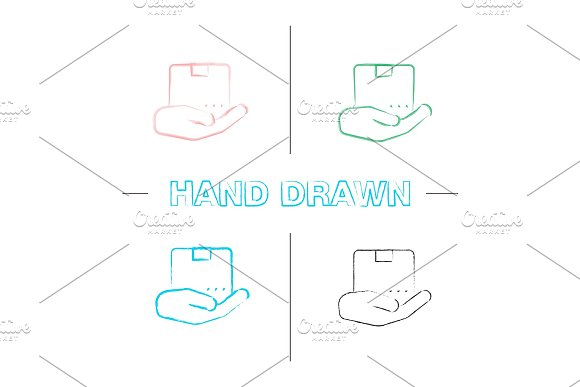 Open Hand With Parcel Hand Drawn Icons Set