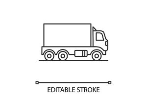 Delivery truck linear icon