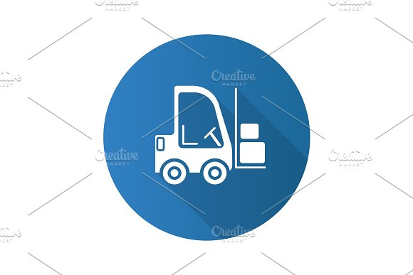 Forklift Flat Design Long Shadow Glyph Icon