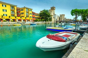 Sirmione harbor and castle