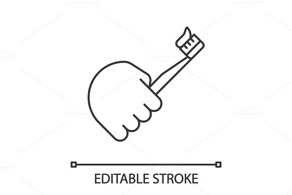 Hand holding toothbrush linear icon