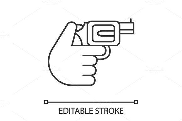 Hand Holding Revolver Linear Icon