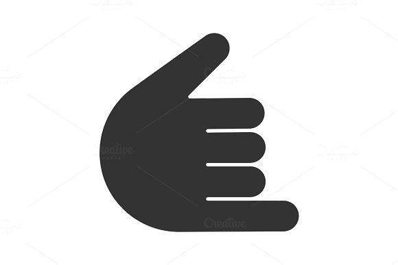 Shaka Hand Gesture Glyph Icon