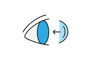 Eye contact lenses putting on color icon