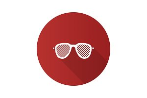 Louvered sunglasses flat design long shadow glyph icon