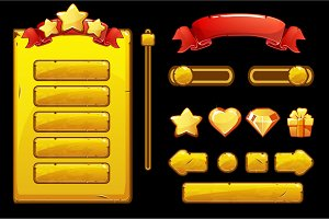 Cartoon old golden assets and buttons For Ui Game, Game User Interface and icons