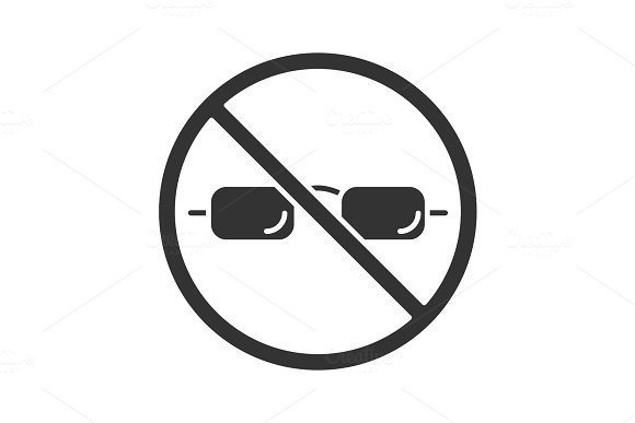 Forbidden Sign With Glasses Glyph Icon