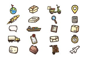 Hand drawn delivery icons set