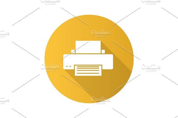 Printer Flat Design Long Shadow Glyph Icon