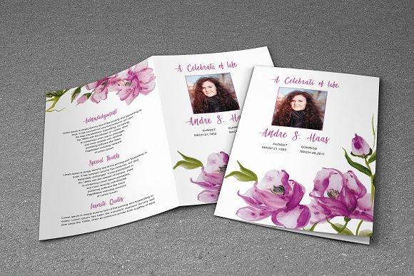 Flower Funeral Program Template