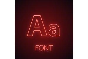 Font neon light icon
