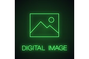 Digital image, photo neon light icon