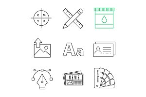 Printing linear icons set