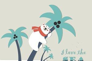 Cute polar bear climbed a palm tree