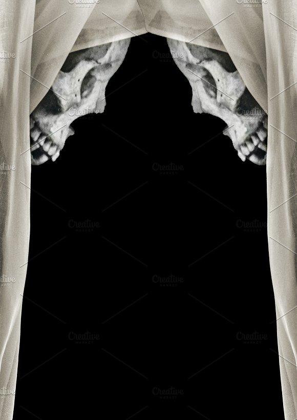Black Background With Skulls Borders Decoration