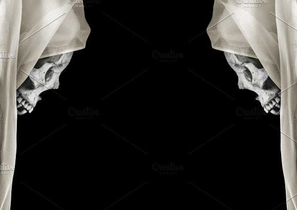 Black Landscape Format Background With Skulls Borders Decoration