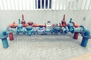 Water pipes joined with valves water supply system