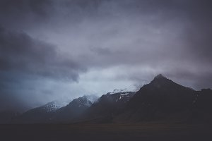 Dramatic and Dark Mountain Scene