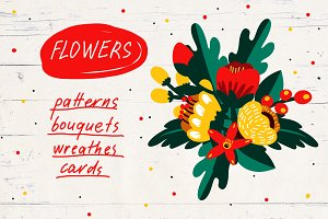 Flowers. Patterns, Graphics, Cards.