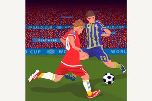 Football players fighting for ball