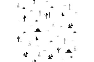 Pyramids, indian tents, saguaro, agaves, and opuntia cactuses on white background