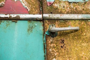 Old rusted car door