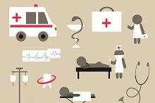 Set of icons on medicine theme