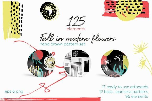 Fall in flowers. Pattern set.