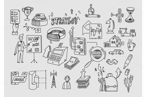 Hand Draw Doodle Elements Business Finance Analytics Earnings