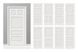 White painted wooden doors set