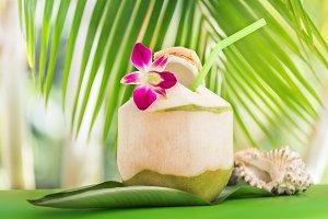 Fresh tropical coconut