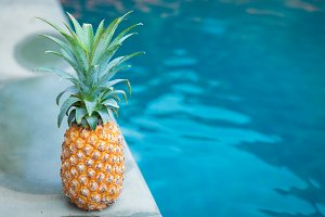 pineapple tropic fruit summer refreshment pool