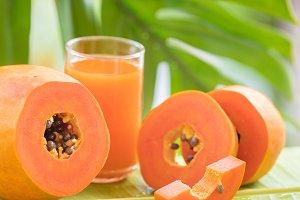papaya fruit glass jar with smoothie shake