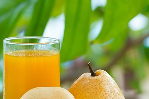 yellow pear tropic fruit refreshment smoothie