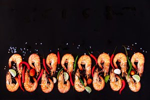 prawns shrimps herbs, spices and text space