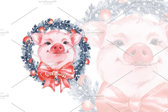 Pig New Year Watercolor