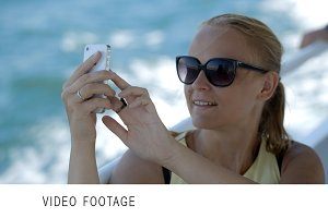 Woman making selfie with smatphone