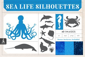 Sea Life Silhouette Illustrations