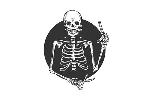 Skeleton barber engraving vector illustration