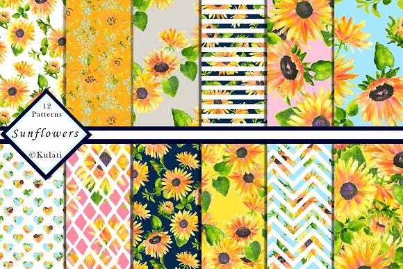 Sunflower Digital Paper Patterns