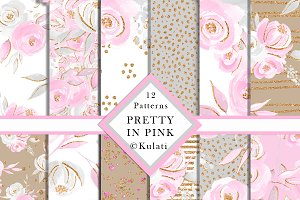 Pink and Grey Floral Patterns