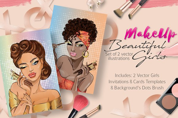 MakeUp Girls Vector Illustrations