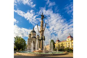 Statue of Stephen Bocskay and Cathedral in Cluj-Napoca, Romania