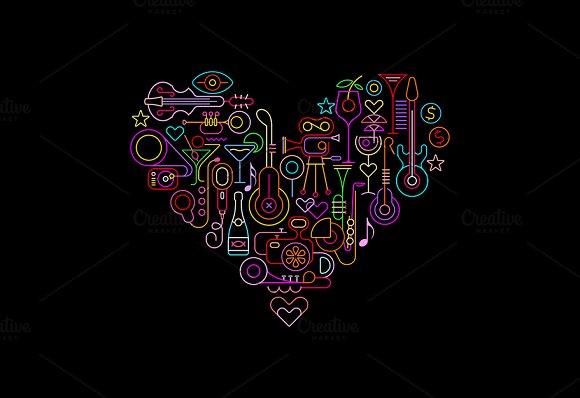 4 Disco Party Heart Shape Designs