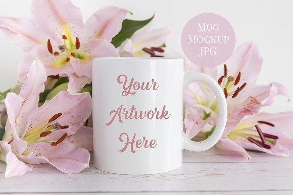 Pink Lilies Mug Mockup