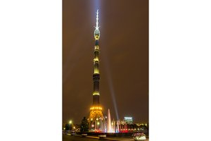 Night view of Ostankino TV tower in Moscow