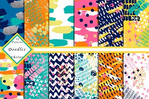 Abstract Colorful Doodle Patterns