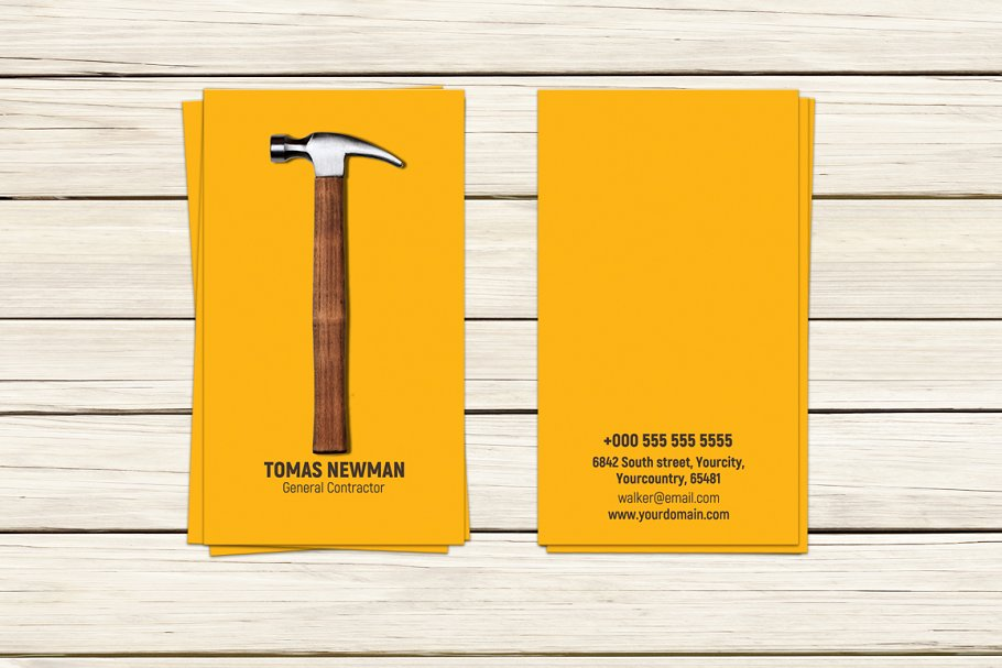 contractor business card template - Contractor Business Cards